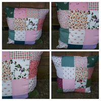 "Cushion 16"" patchwork in floral fabrics."
