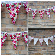 Bunting in roses reversible with cream and pink flowers.