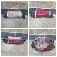 Pencil case in box pleat check wool.