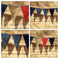 Bunting in red, navy and tweed - reversible. Free uk delivery.