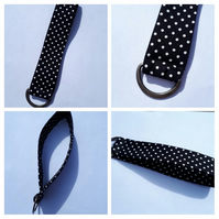 Keyring, key fob in black polkadot.