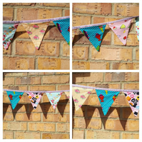 Bunting- mini in fruit salad, sweets, sundaes and floral fabrics.