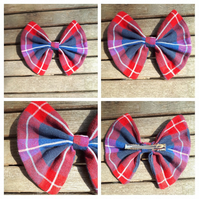Hair bow slide clip in red, blue and white check.