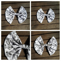Hair bow slide clip in white and black butterflies