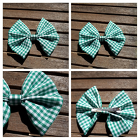 Hair bow slide clip in green gingham