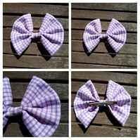 Hair bow slide clip in purple gingham fabric