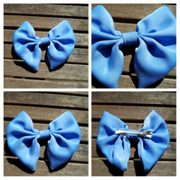 Hair bow slide clip in blue fabric