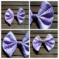 Hair bow slide clip in purple and white patterned fabric