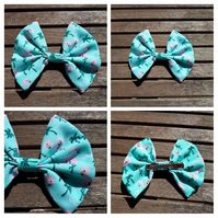 Hair bow slide clip in flamingo fabric