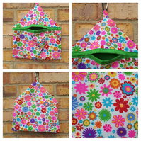 Peg bag in bright flower fabric.