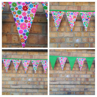 Bunting in flower and green fabric.