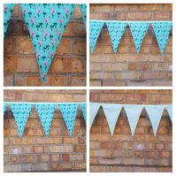 Bunting in flamingo fabric with pale green lining.