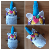 Unicorn hair slide clip with blue horn. Free uk delivery.