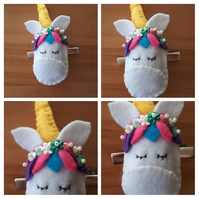 Unicorn hair slide clip with flower sequins. Free uk delivery.