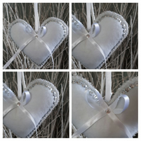 Heart hanger in white felt, silver sequins and seed beads.
