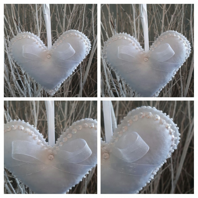 Heart hanger in white felt and pearl seed beads and sequins