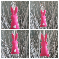 Easter bunny hanging decoration in pink.
