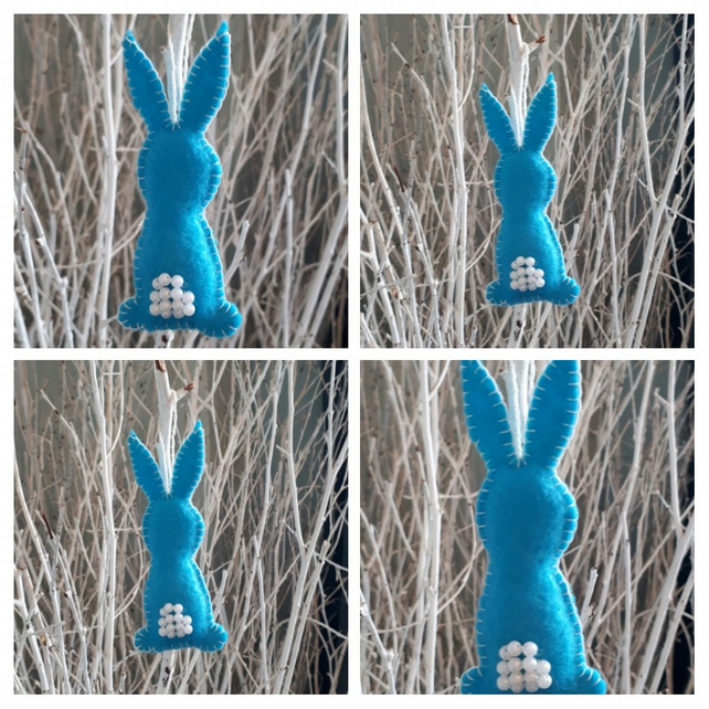 Easter bunny hanging decoration in bright blue.