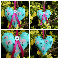 Heart Keyring in flamingo fabric. Free uk delivery.