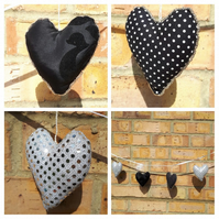 Hearts bunting in black, silver and white.