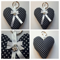 Heart keyring in navy polkadot fabric. Free uk delivery.