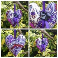 Heart keyring in purple fabric. Free uk delivery.