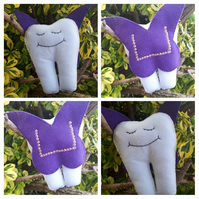 Tooth fairy helper with purple wings.
