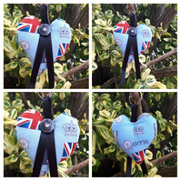 Heart keyring in blue uk fabric