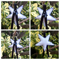 Star keyring in white with blue beads. SALE
