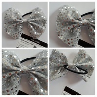 Hair bobble bow band in silver. 3 for 2 offer.