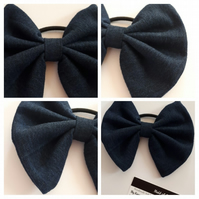 Hair bow bobble in denim upcycled fabric. 3 for 2 offer.