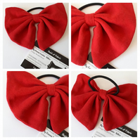 Hair bow bobble in red upcycled fabric. 3 for 2 offer.