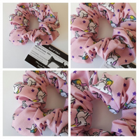 Hair scrunchie in pink unicorn fabric