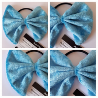 Hair bow bobble in blue crushed velvet fabric. Free uk delivery.