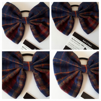 Hair bow bobble in upcycled tartan fabric. 3 for 2 offer.