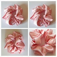 Hair scrunchie in pink satin fabric. Free uk delivery.