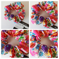 Hair scrunchie in flower power fabric. Free uk delivery.
