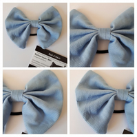 Hair bow bobble in blue corduroy fabric. 3 for 2 offer.