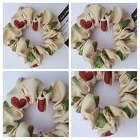 Scrunchie in cream of hearts fabric.