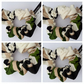 Scrunchie made in cream, green and black fabric.