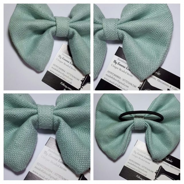 Hair bow bobble in pale green linen