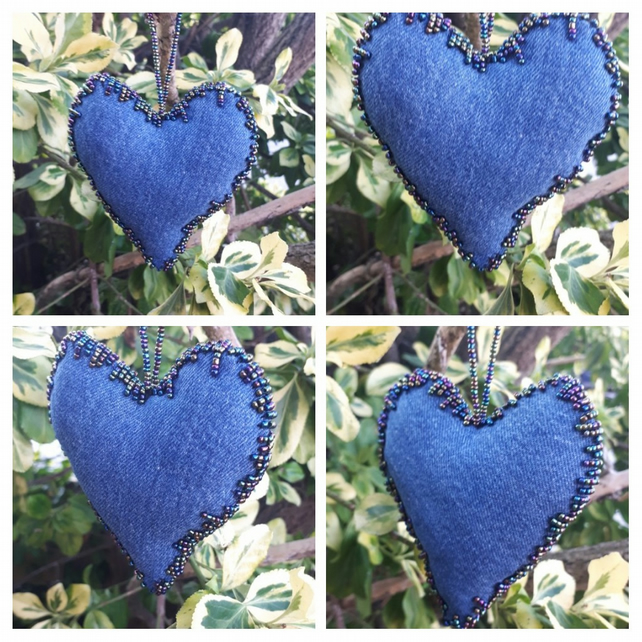 Heart hanger made with upcycled denim and metallic beading.