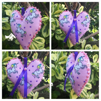 Unicorn heart keyring with pink sequins