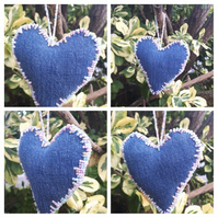 Heart hanger made with upcycled denim and pearl mixed beads.