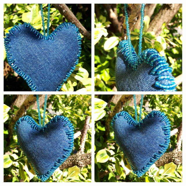 Heart hanger made with upcycled denim and blue seed beads.