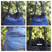 Denim upcycled handbag with black lining. Free uk delivery.