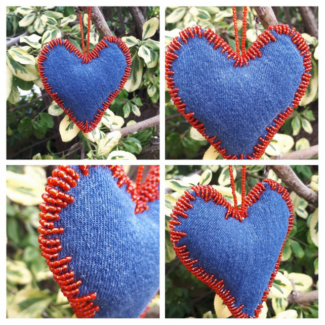 Heart hanger made with upcycled denim and red seed beads.