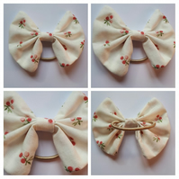 Hair bow bobble in white floral.  3 for 2 offer.