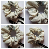 Scrunchie in blue and white linen. 3 for 2 offer.