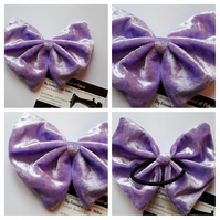 Hair bow bobble in purple crushed velvet. 3 for 2 offer.  .